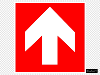 White Arrow With Red Background - Up