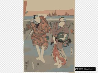 Segawa Kikunojō And Bandō Minnosuke Collecting Seashells.