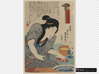 Lady Cooking Fish Food