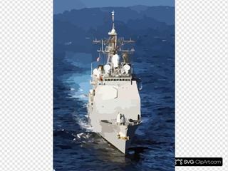Uss San Jacinto Underway In The Mediterranean Sea.