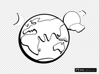 Earth Sun And Moon Outline