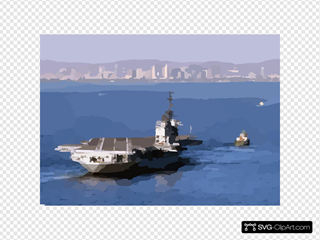 A Tugboat Tows The Decommissioned Aircraft Carrier Midway Into San Diego Bay.