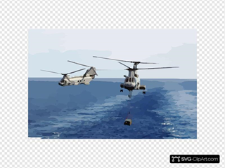 Helicopter Transfer Crates Of Supplies From Aboard Uss Sacramento