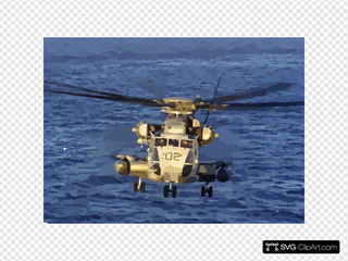 A Ch-53e Flies Over The Atlantic Ocean At Sunrise During Deck Landing Qualification