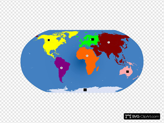 World Continents Colored