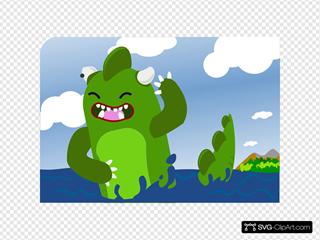 Godzilla Emerging From Sea