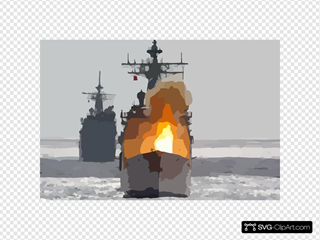 Uss Chancellorsville Fires A Surface-to-surface Standard Missile