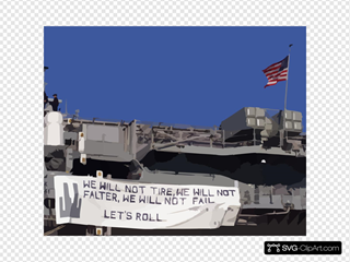 The Amphibious Assault Ship Displays A Banner From Her Stern Quoting President Bush:  We Will Not Tire, We Will Not Falter, We Will Not Fail