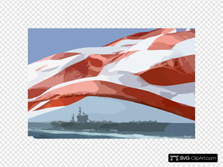 The Uss Nimitz (cvn 68) Steams Alongside The Princeton As The American Flag Waves Proudly In The Wind.