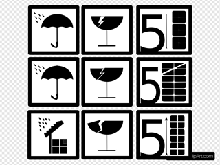 Pictograms Rain Water Broken Glass