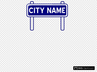 City Name Plate Road Sign Post