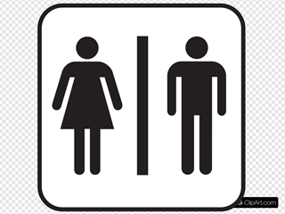 Large Man Woman Bathroom Sign