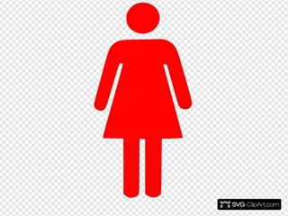 Female Restroom Sign - Red