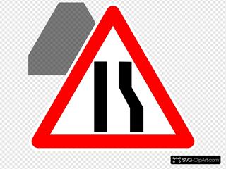Road Merging Left Sign