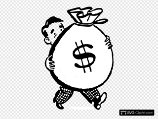 Man Carrying A Big Bag Of Money SVG Clipart