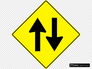 Paulprogrammer Yellow Road Sign Two Way Traffic