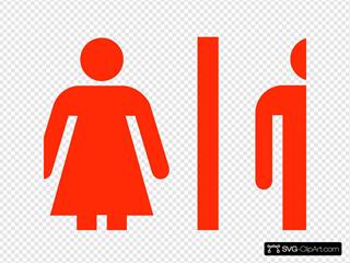Large Man Woman Bathroom Sign Vector