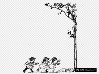 Girls Running To Tree