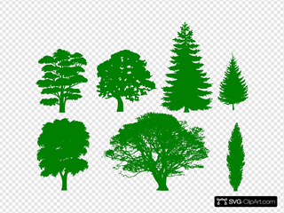 Green Trees SVG Cliparts
