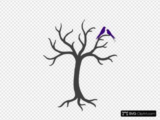 Bare Tree With Love Birds