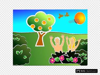 Happy Adam And Eve Cartoon
