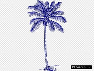 Dark Blue Palm Tree