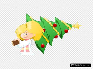 Angel With Christmas Tree