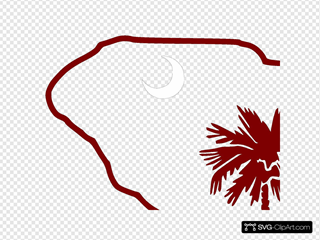 Carolina Logo With Garnet Palm Tree Clipart