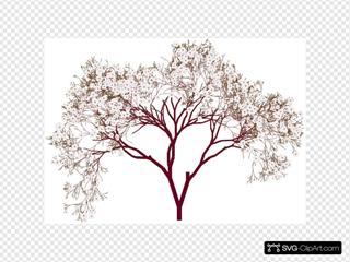 Almond Tree Blossom SVG Clipart