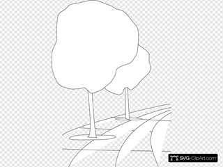 Pavement Street Trees Outline 3d