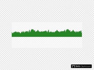 Green Treeline Over White Background