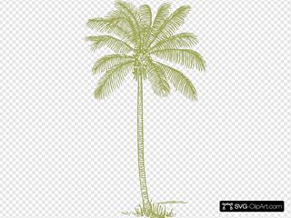 Palm Tree Silhouette Yellow-green