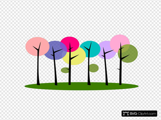 Colorful Trees Clipart
