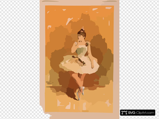 [ballerina In White Costume With Flowers In Dance Pose]