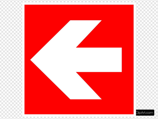 White Arrow With Red Background - Left