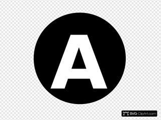 White Letter  A  Centered Inside Black Circle