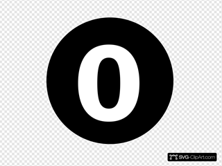 White Numeral  0  Centered Nside Black Circle