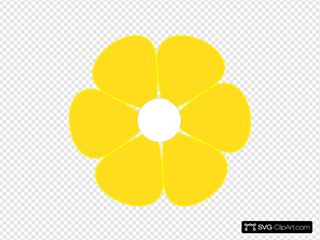 Yellow Flower With White Middle SVG Clipart