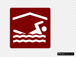 Hotel Icon Indoor Pool Clip Art - Red/white