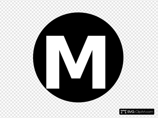 White Letter  M  Centered Inside Black Circle