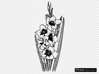 Black And White Flowers SVG Clipart