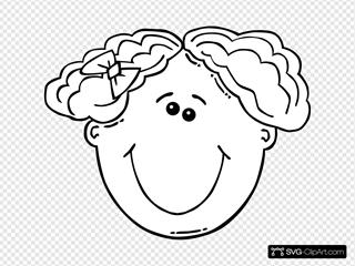 Girl Face Cartoon Outline
