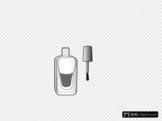 Black And White Nail Polish Bottle SVG Clipart