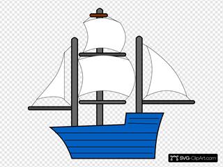 Blue Sailing Ship