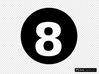 White Numeral  8  Centered Inside Black Circle
