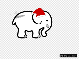 White Elephant With Red Bow SVG Clipart