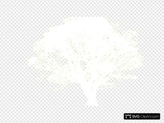 Tree, White, Silhouette, Yellow Background