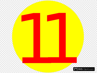 Yellow, Round, With Number 11