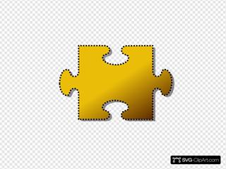Jigsaw Yellow Puzzle Piece Cutout