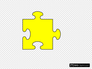 Blue Border Puzzle Piece Top-yellow Fill